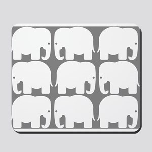 White Elephants Silhouette Mousepad