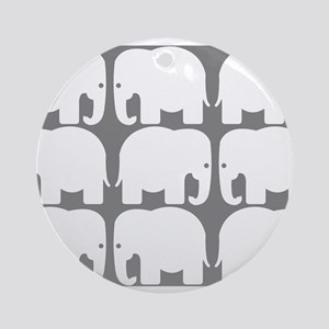 White Elephants Silhouette Ornament (Round)
