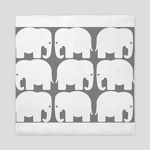 White Elephants Silhouette Queen Duvet