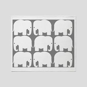 White Elephants Silhouette Throw Blanket