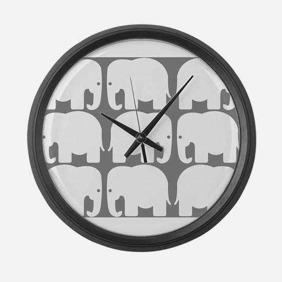 White Elephants Silhouette Large Wall Clock