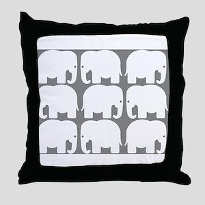White Elephants Silhouette Throw Pillow