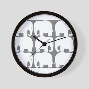 White Elephants Silhouette Wall Clock