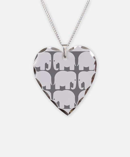 White Elephants Silhouette Necklace