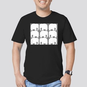 White Elephants Silhouette Men's Fitted T-Shirt (d
