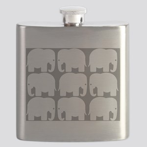 White Elephants Silhouette Flask
