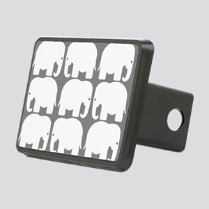 White Elephants Silhouette Rectangular Hitch Cover