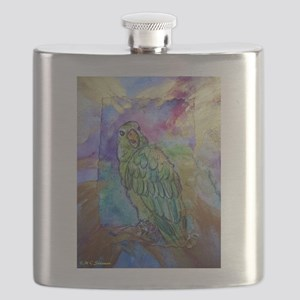 Amazon, Green parrot, art! Flask