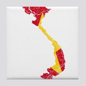 Vietnam Flag And Map Tile Coaster