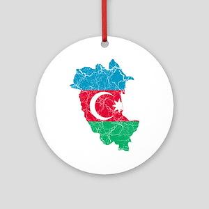 Azerbaijan Flag And Map Ornament (Round)