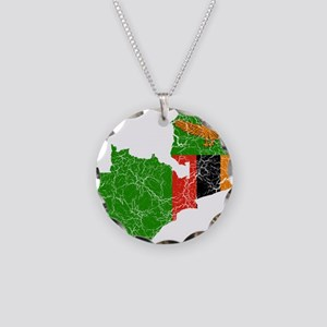 Zambia Flag And Map Necklace Circle Charm