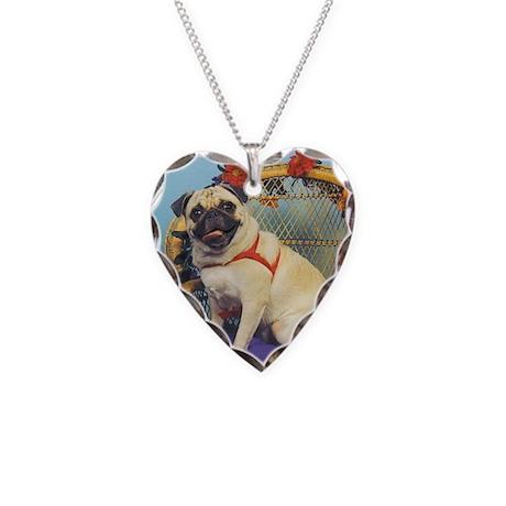 Cloud Angel & Fawn Pug Necklace Heart Charm