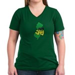 Jersey Jay logo Women's V-Neck Dark T-Shirt