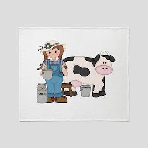 Dairy Farm Girl Throw Blanket
