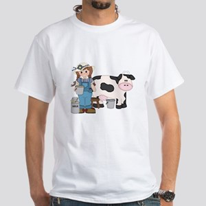 Dairy Farm Girl White T-Shirt