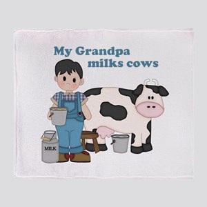 My Grandpa Milks Cows Throw Blanket
