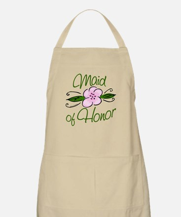 Pink Flower Maid of Honor Apron