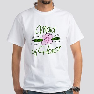 Pink Flower Maid of Honor White T-Shirt