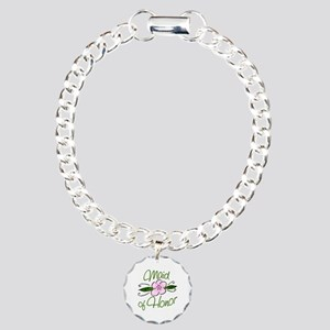 Pink Flower Maid of Honor Charm Bracelet, One Char