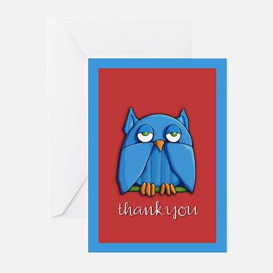 Aqua Owl red Thank You Cards (Pk of 20)