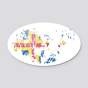 Aland Flag And Map Oval Car Magnet