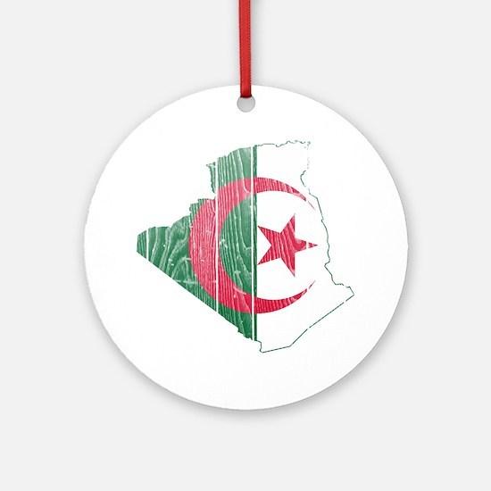Algeria Flag And Map Ornament (Round)
