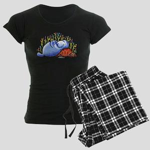 Sea Turtle n Manatee Women's Dark Pajamas