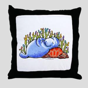 Sea Turtle n Manatee Throw Pillow