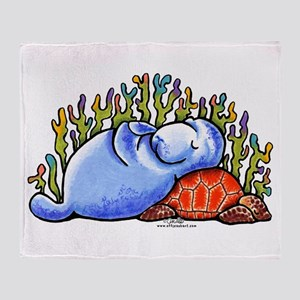 Sea Turtle n Manatee Throw Blanket