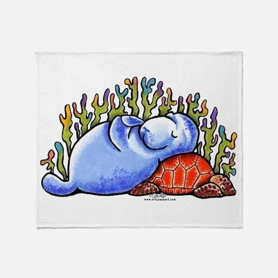 Sea Turtle n Manatee Throw Blanket