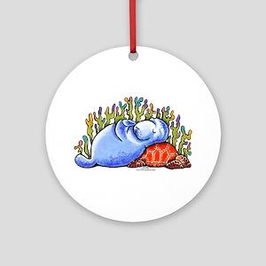 Sea Turtle n Manatee Ornament (Round)
