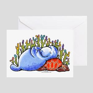 Sea Turtle n Manatee Greeting Card
