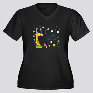 Happy Birthday Giraffe Women's Plus Size V-Neck Da