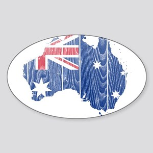 Australia Flag And Map Sticker (Oval)