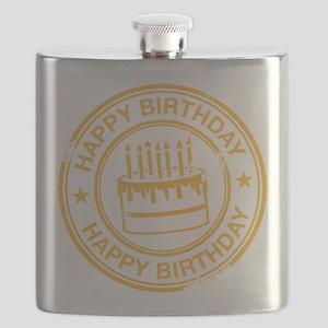 Happy Birthday Cake yellow Flask