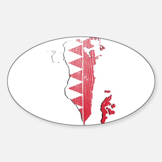 Bahrain Flag And Map Sticker (Oval)