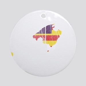 Balearic Islands Flag And Map Ornament (Round)