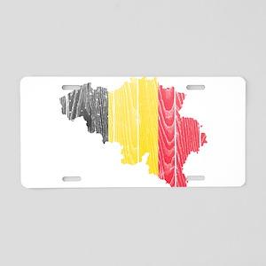Belgium Flag And Map Aluminum License Plate