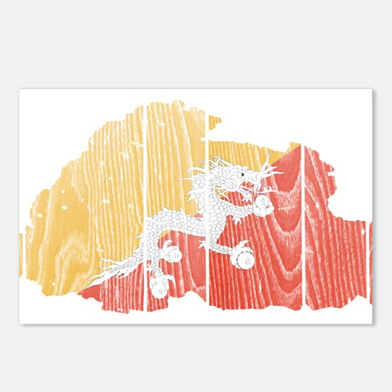 Bhutan Flag And Map Postcards (Package of 8)