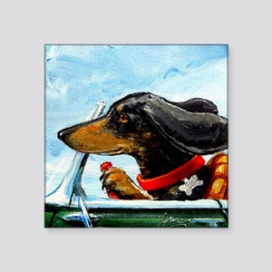 "Dachshund Takes the Wheel Square Sticker 3"" x 3"""