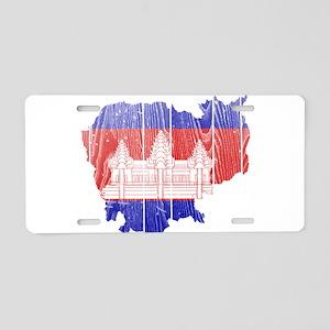 Cambodia Flag And Map Aluminum License Plate