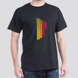 Chad Flag And Map Dark T-Shirt