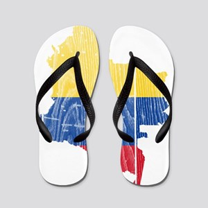 Colombia Flag And Map Flip Flops