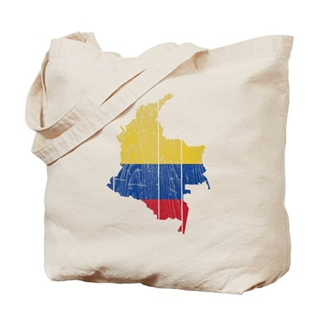 Colombia Flag And Map Tote Bag