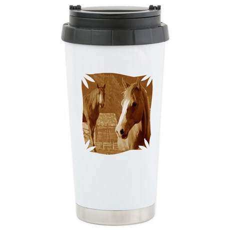 horse sepia picture Stainless Steel Travel Mug