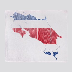 Costa Rica Flag And Map Throw Blanket