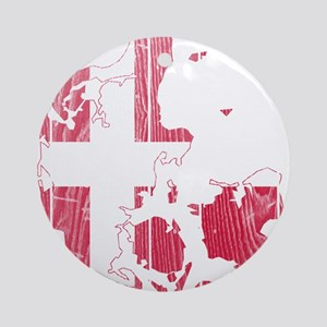 Denmark Flag And Map Ornament (Round)