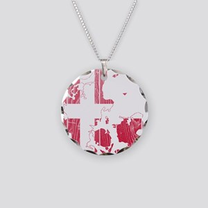 Denmark Flag And Map Necklace Circle Charm