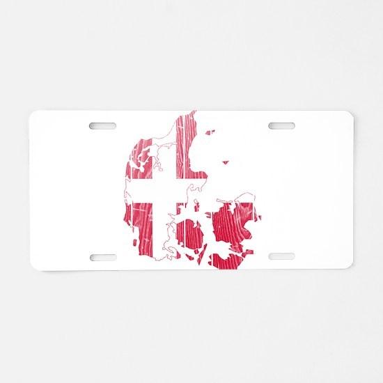Denmark Flag And Map Aluminum License Plate