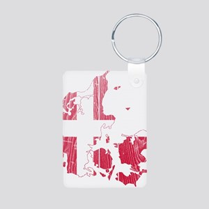 Denmark Flag And Map Aluminum Photo Keychain